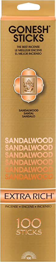 Gonesh Extra Rich Collection Sandalwood – 100 Stick Pack-Incense