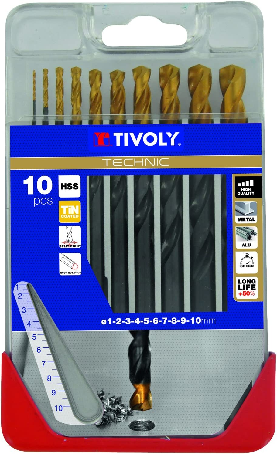 Tivoly A23/ Diameter of 2, 3, 4, 5, 6, 7, 8, 10/mm /Pack of 8/Drill Bits for Metal DIN 338/HSS TiN