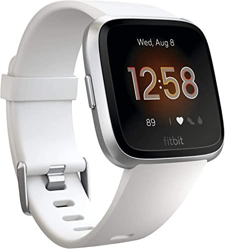 Fitbit Versa Lite Edition Smartwatch with S L bands – White Silver Renewed