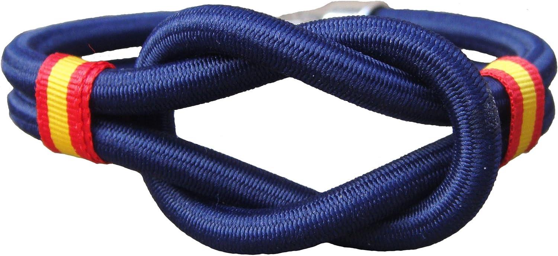 Pi2010 - Pulsera España Nudo cordón Nylon Marino, 19cm: Amazon.es: Joyería