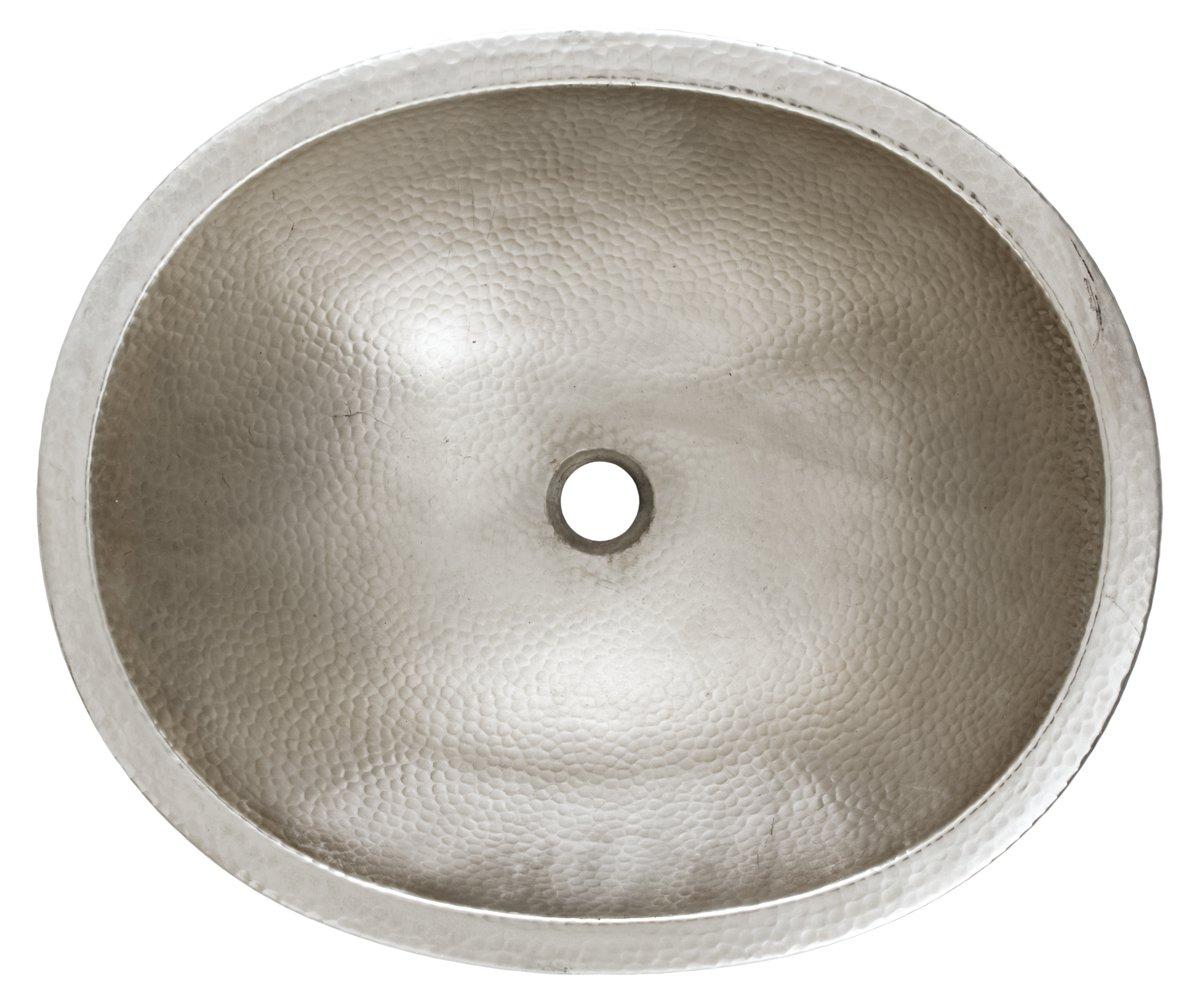 Sinkology SB203-18N Edison Dual Mount Oval Bathroom Sink, 18-0.5 Inch, Hammered Nickel by Sinkology (Image #3)