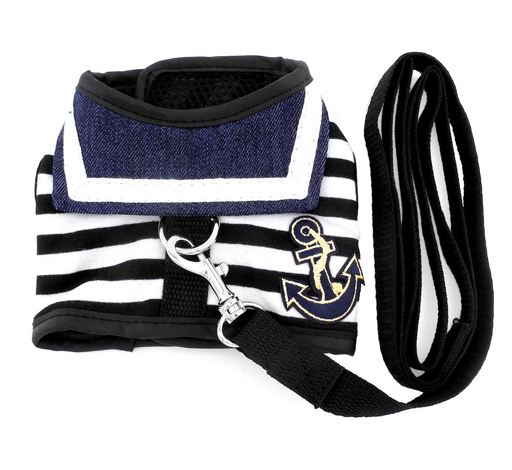 SMALLLEE_LUCKY_STORE Pet Clothes for pets Striped Sailor Vest Harness Leash Set Mesh Padded Lead Black L