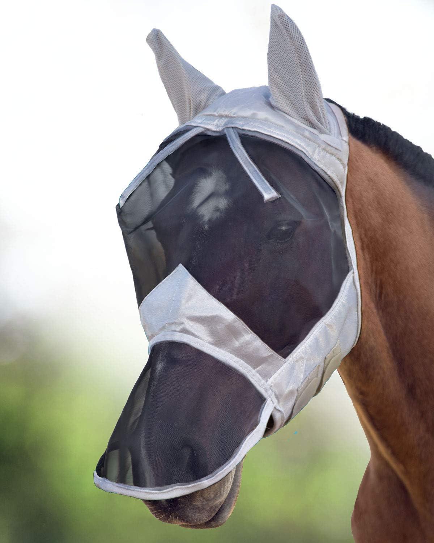 Harrison Howard CareMaster Masque Anti-Mouches Protection Anti-UV Oreilles et Naseaux Noir//Argent