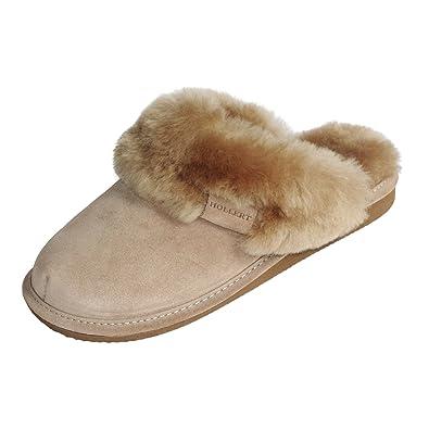 Hollert Leather Lammfell Hausschuhe - Malibu Damen Pantoffeln Fell Schuhe Größe EUR 36, Farbe Beige/Weiß