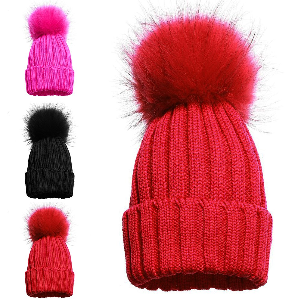 1 POM POM HAT BLACK Girls Single and Double Pom Pom Winter Hats Caps Kids Beanies Single Pom Double Pom Cosy Knitted Beanies
