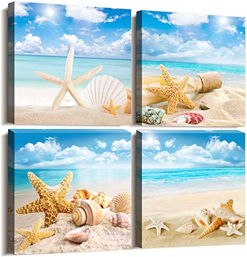 Canvas Art Bathroom Wall Art Decor Blue Ocean Conch Painting 16″ x 16″ 4 Pieces Framed Canvas Prints Picture Ready to Hang