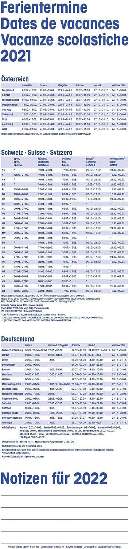 Ferienterminen 2021 Korsch Supertimer Streifenkalender mit Datumsschieber