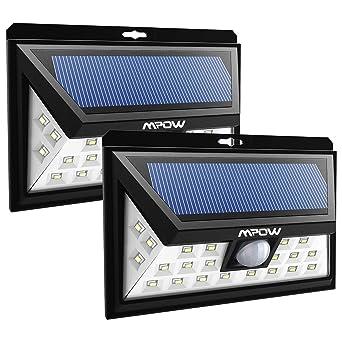 2 Pack] 24 LED Lampe Solaire Jardin Etanche sans fil, Mpow Luminaire ...