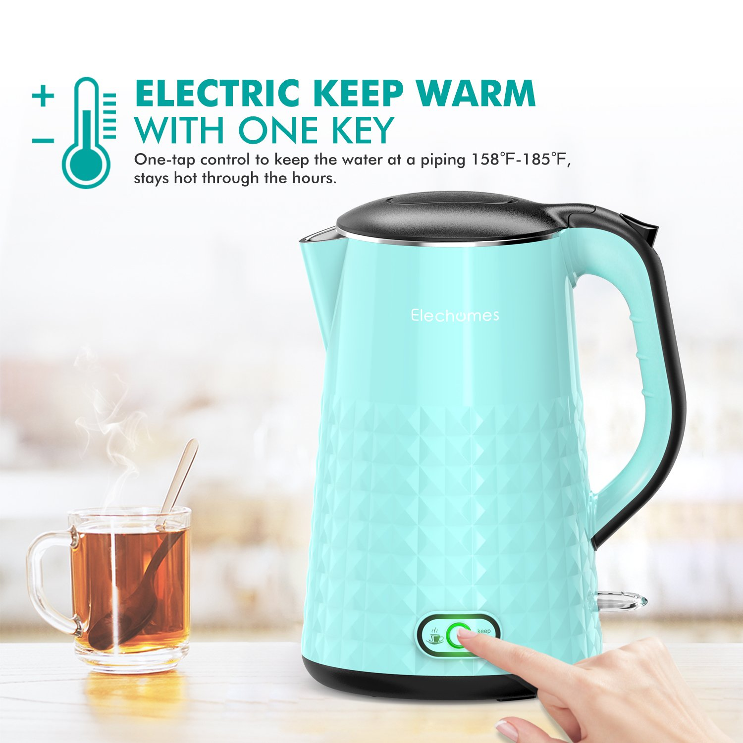 Amazon.com: Elechomes 1.7L Electric Kettle with Smart Keep Warm ...