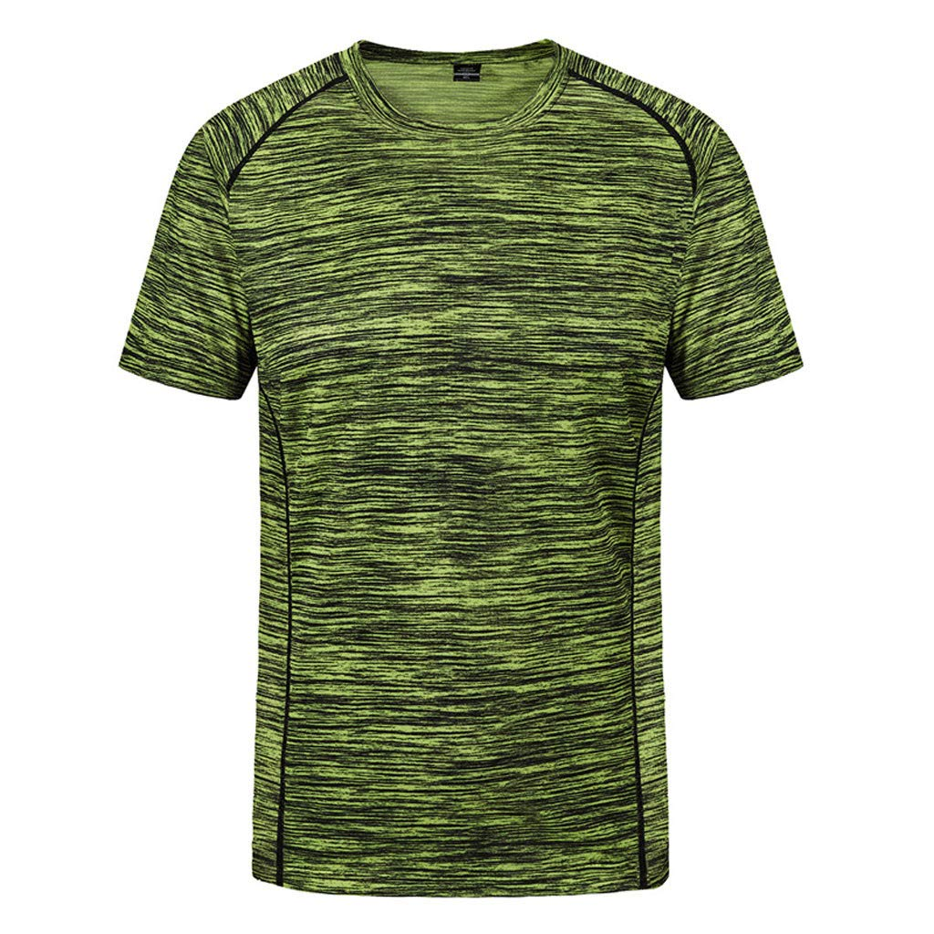 Mijaution Men's Round Neck Short Sleeve Loose Large Size Sweatshirt Fitness Quick Dry Sweat T-Shirt Tops (Green,XXL)