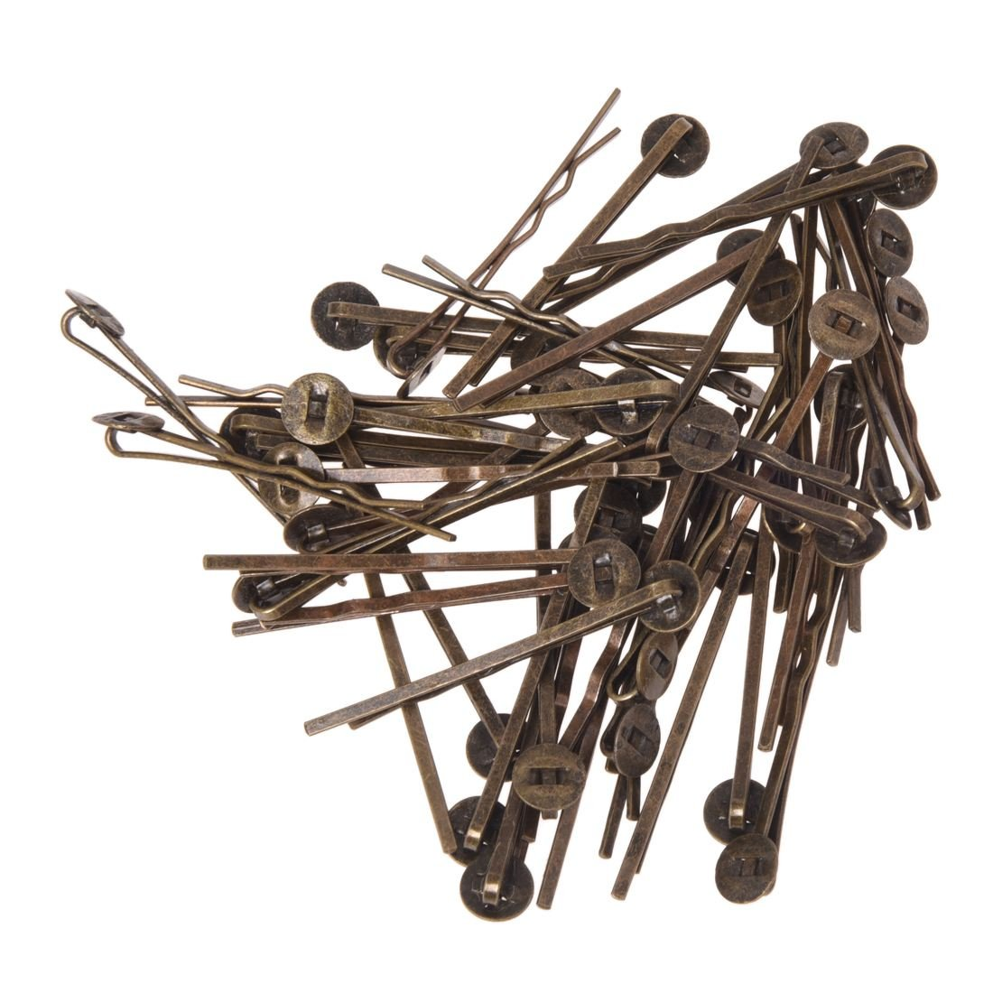 SODIAL(R) 50 Antique Bronze Metal Bobby Hair Pin Clip w/ Pad 0.3 HOT 029197