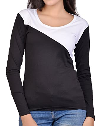 eb421d11ba1 Fubura Womens Cotton Casual T-Shirts Round Neck Full Sleeve with Black  White Colour (
