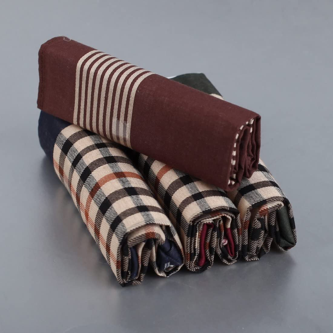 YEB0206 Grey Brown Solid England Style Pure Cotton Bridegrooms Gift 4 Pack Handkercheifs Set By Y/&G
