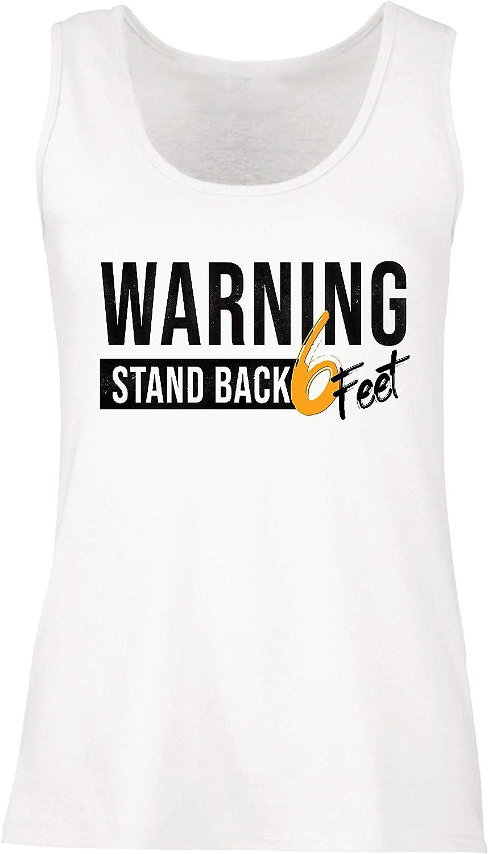 lepni.me Camisetas sin Mangas para Mujer Retroceda 6 Pies Señal de Advertencia Mantenga una Distancia Social Segura