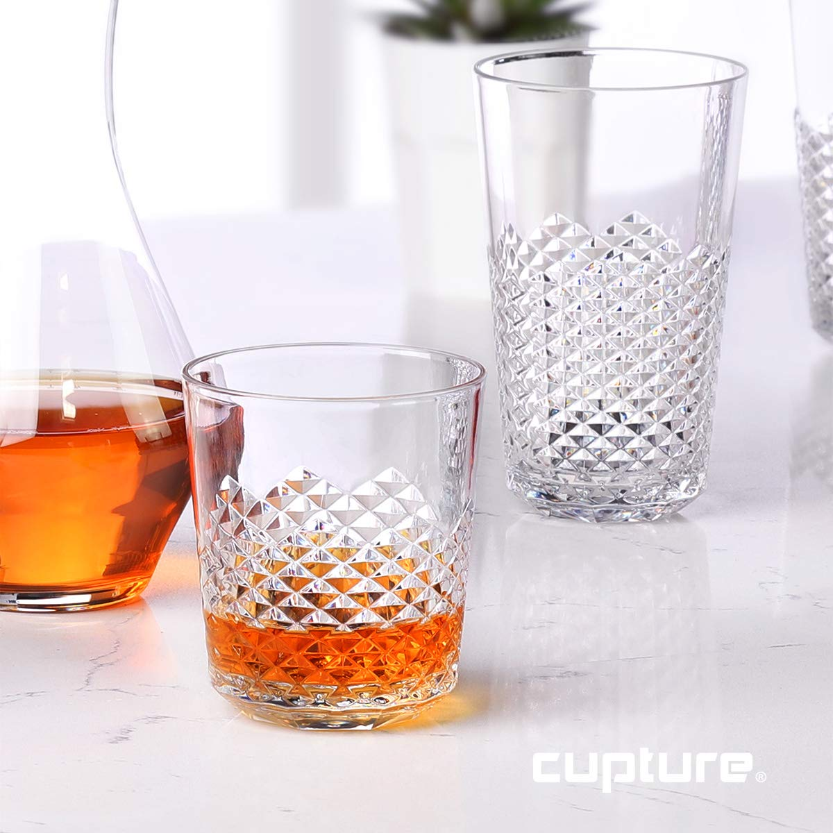 Cupture Diamond Plastic Tumblers BPA Free, 24 oz / 14 oz, 8-Pack (Clear) by Cupture (Image #3)
