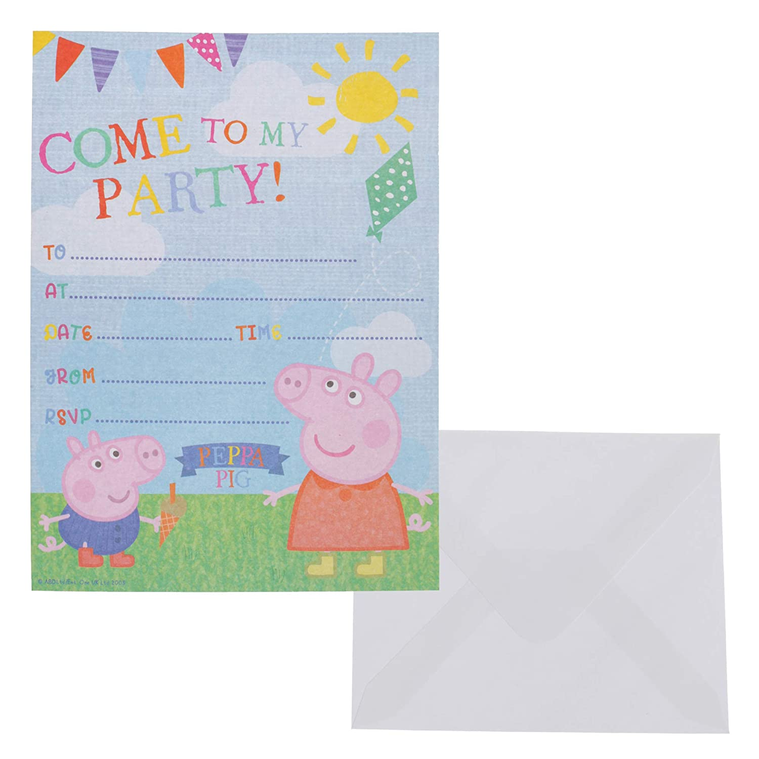 Amazon Com Peppa Pig Pack Of 20 Party Invitations With Envelopes
