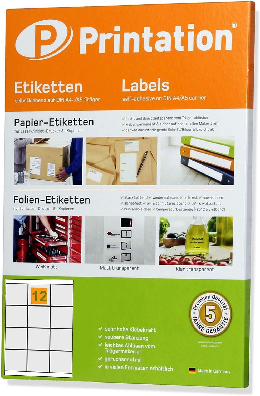70 x 67,7 mm Etichette universali autoadesive 4279 3661 300 etichette bianche su 25 fogli DIN A4 3 x 4 70 x 67,7 adesivi