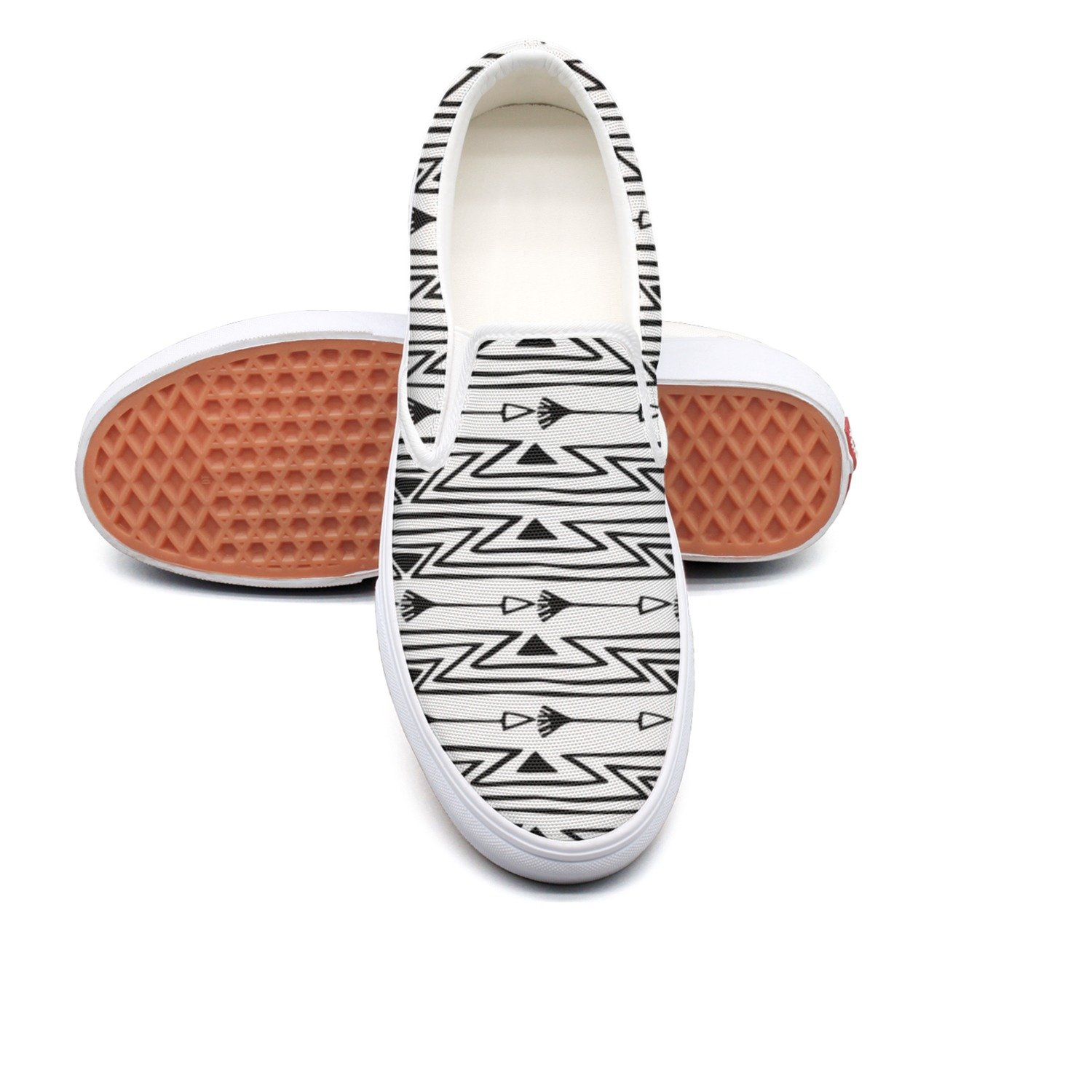 2cc3f02c8fad Amazon.com  VCERTHDF Boho Style Tribal Arrow Pattern Fashion Slip-On Shoe  Mens White  Sports   Outdoors