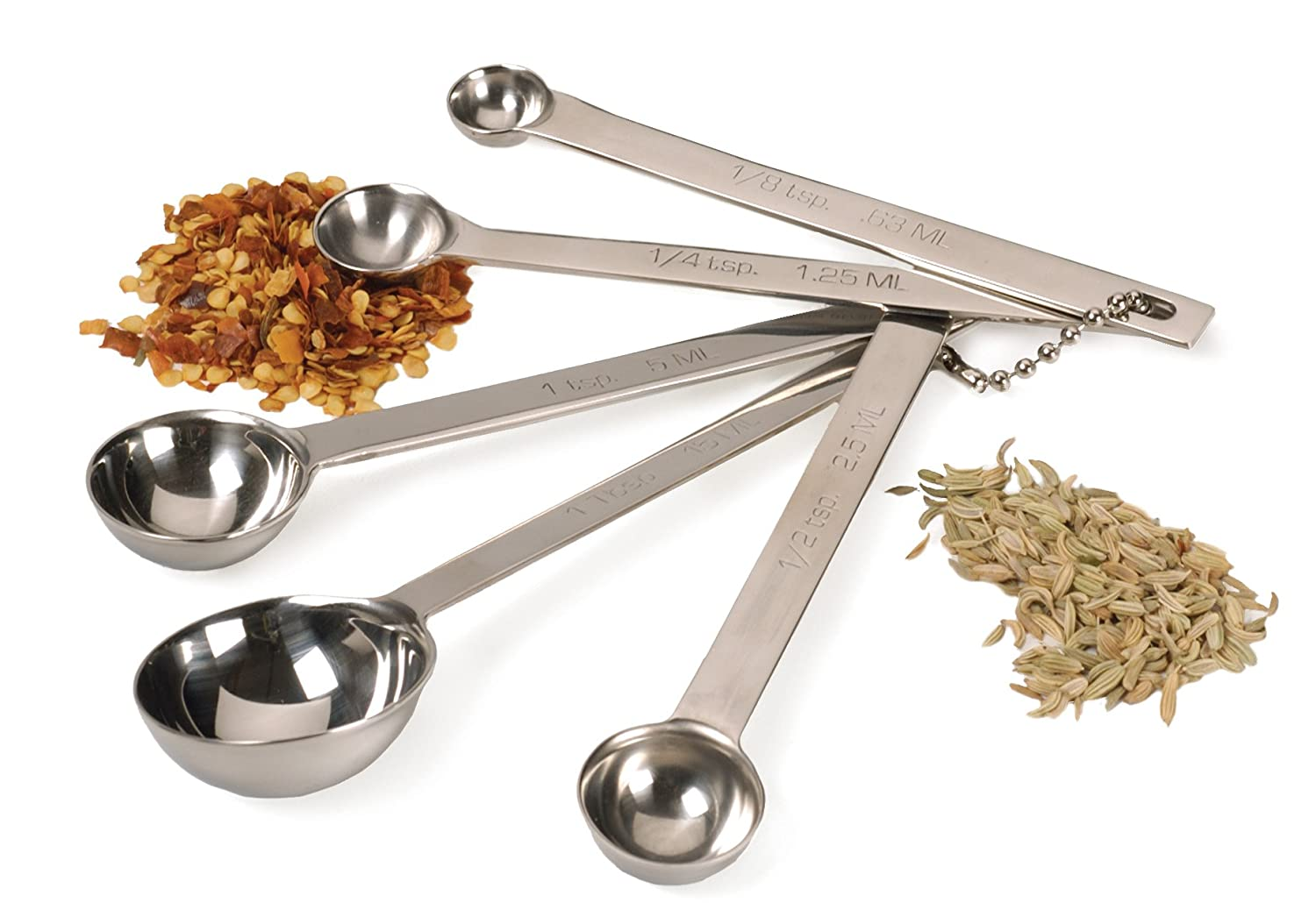 RSVP International Dsp-4 Stainless Steel Measuring Spoon 5 Piece Set