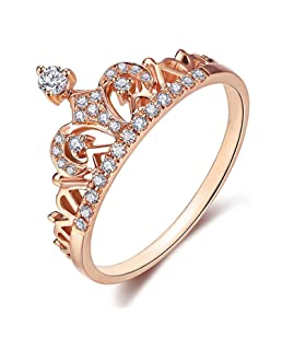 Presentski Women Crown Rings Tiara Exquisite 18K Rose Gold Plated Princess Tiny CZ Diamond Accented Promise Rings (Rose Gold, 7)