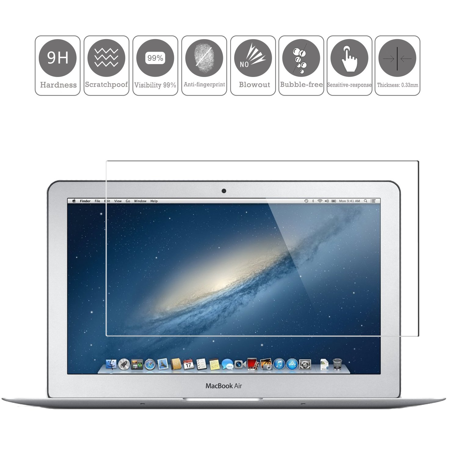 """KTTWO Macbook Air 11 Screen Protector Glass, 9H HD Anti-Scratch Bubble-Free Tempered Glass Screen Protector for Macbook Air 11 A1370/A1465 11.6"""" Screen Laptop"""