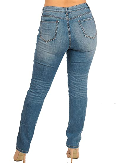 d6267bedbd2 Nine Planet Women s Plus Size 5 Pocket One Button Bootcut Straight Leg Jeans  at Amazon Women s Jeans store