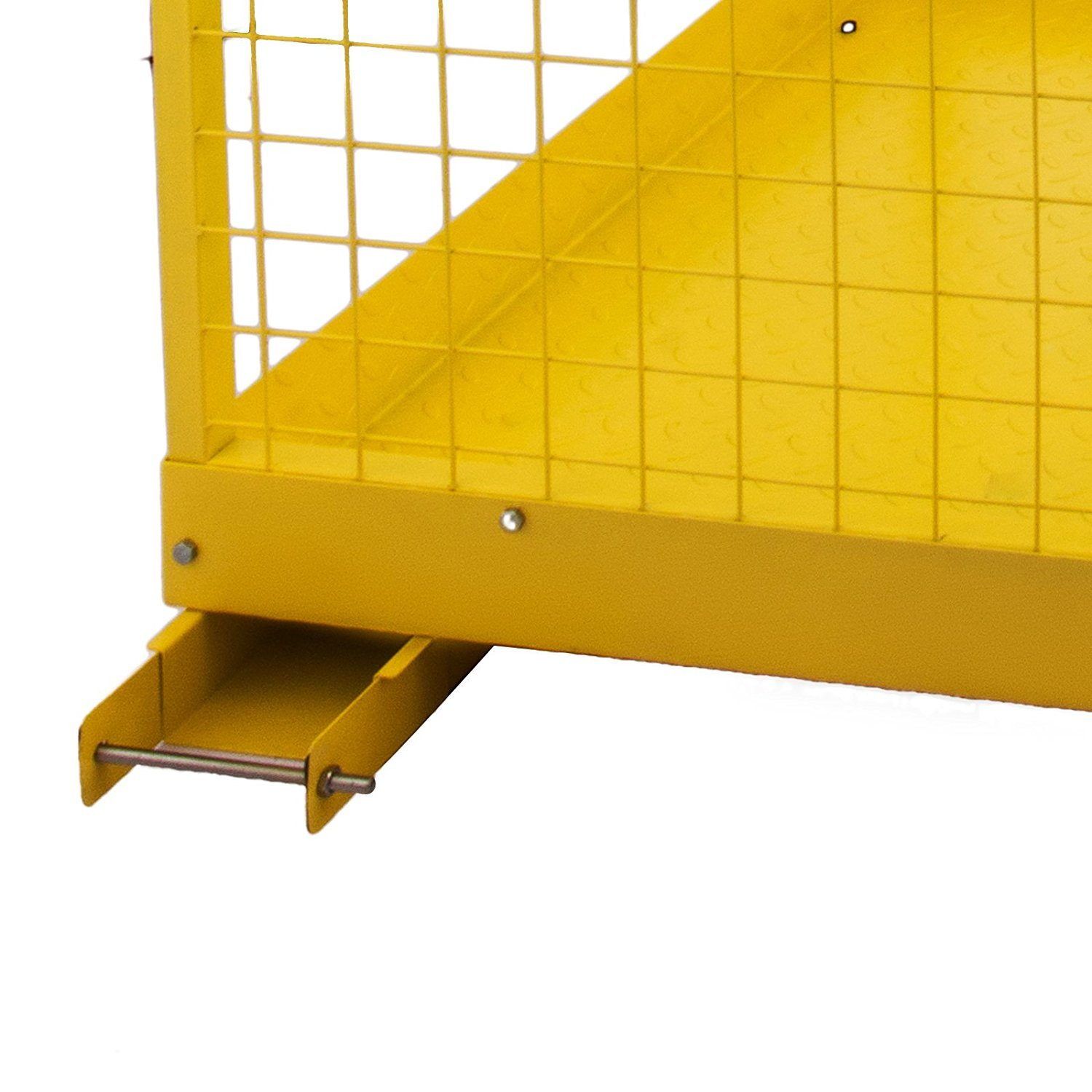 BestEquip Forklift Safety Cage 1200LBS Capacity Fold-Down Forklift Work Platform 45 x 43 Inch Powder Coat Yellow Collapsible Lift Basket Aerial Fence Rails