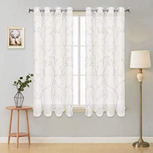 VERTKREA Curtains Semi Sheer Window Curtains Tree Branches Drapes Linen Panels Grommet Window Curtains for Bedroom, Living Room, Laundry, Nursery 50 × 63 Inches 2 Panels White Yellow and Gray