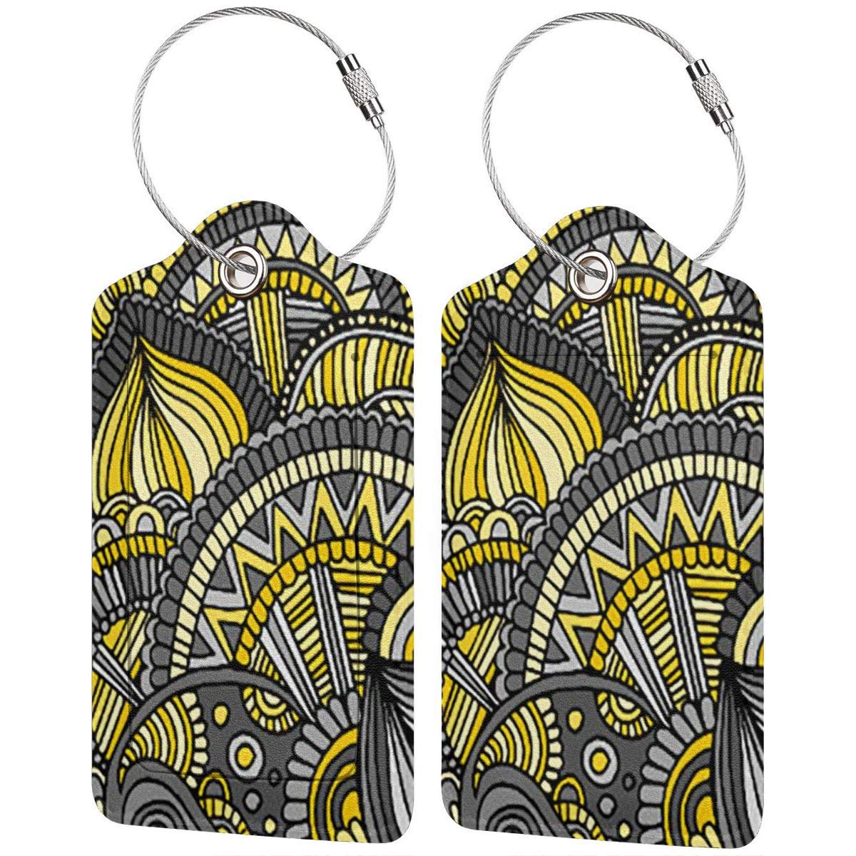 Yellow Gray Zendoodle Pattern Luggage Tag Label Travel Bag Label With Privacy Cover Luggage Tag Leather Personalized Suitcase Tag Travel Accessories