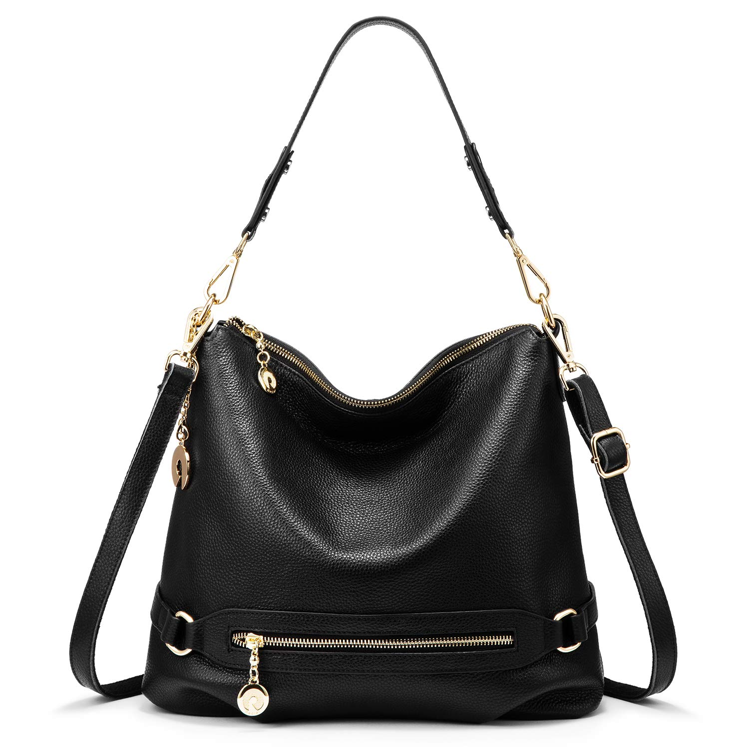 Genuine Leather Handbags for Women Large Designer Ladies Shoulder Bag  Bucket Style   Black    Handbags  Amazon.com b66c3fb24aaa4