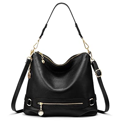 Genuine Leather Handbags for Women Large Designer Ladies Shoulder Bag Bucket  Style   Black   e447aa68fec10