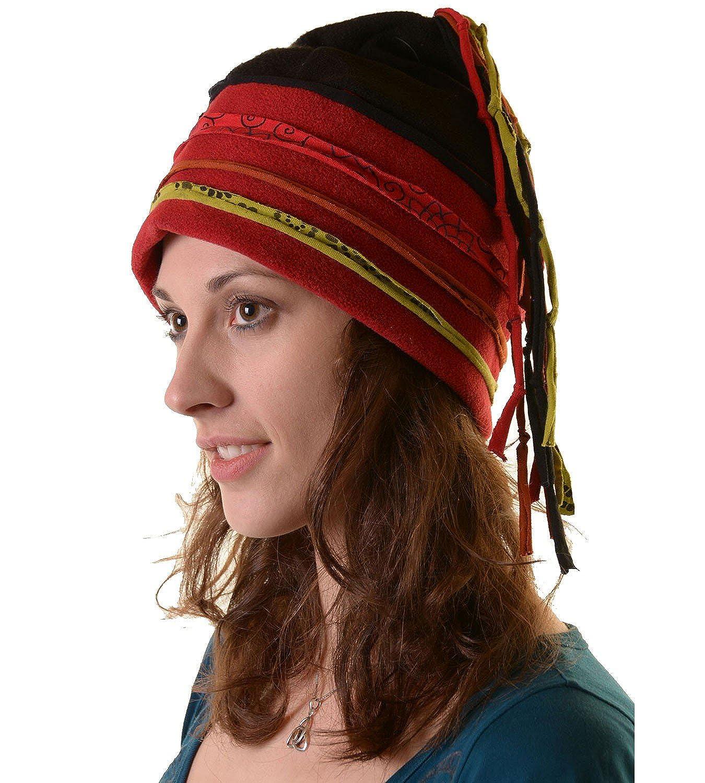 KUNST UND MAGIE Lustige Goa Mütze aus Fleece Lagenlook, Hippie, PSY, Ethno