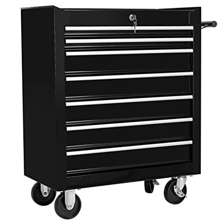 Merax  Drawer Tool Cabinet Tool Box Storage Chest With Rolling Casters Black