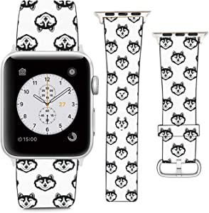 nobrand (Blue-Eyed Husky Dog Pattern) Patterned Leather Wristband Strap Compatible with Apple Watch Series 5/4/3/2/1 gen,Replacement for iWatch 42mm / 44mm Bands