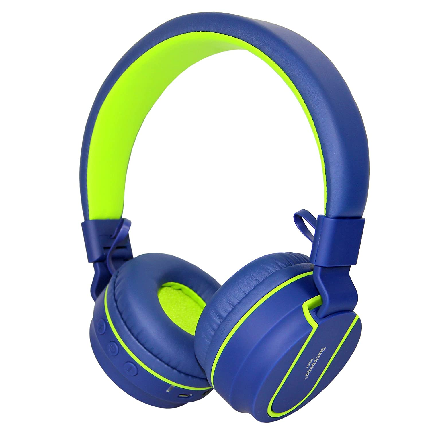 RockPapa Stereo Foldable Wireless Bluetooth Headphones Adjustable Lightweight Headsets with Microphone for Smartphones Android Devices iPhone iPad iPod Laptop (Blue/Green)