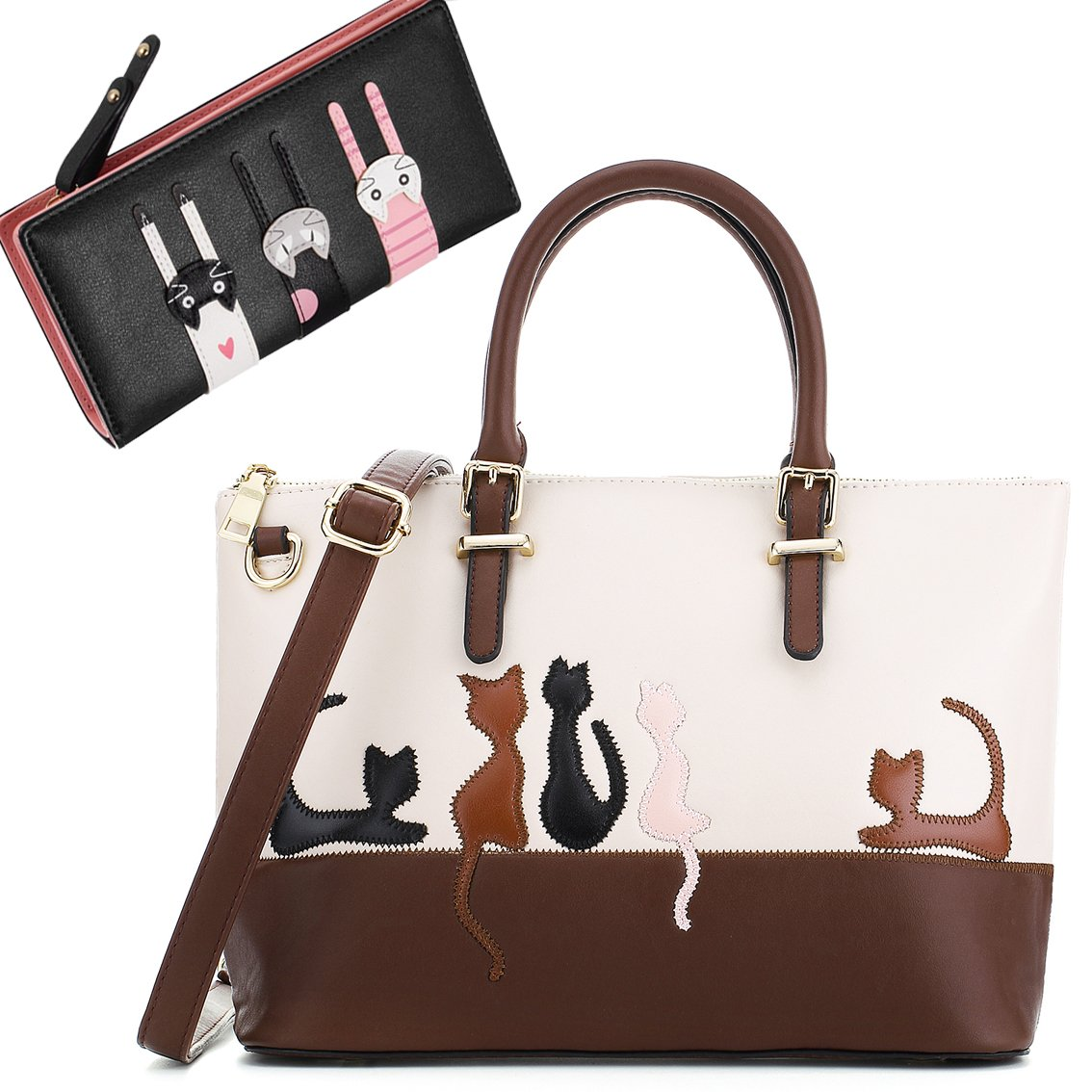 Cat Purses and Handbags for Women Cute Leather Wallet Satchel Tote Bag (Beige-Black)