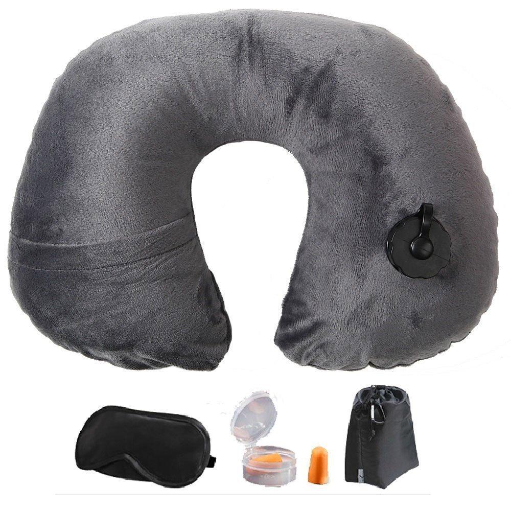 Itian U-förmige aufblasbare Kissen, Die Rolle der Gesundheitsversorgung , Dekompression und Halte Hals, Leicht zu Tragen (Hellgrau)