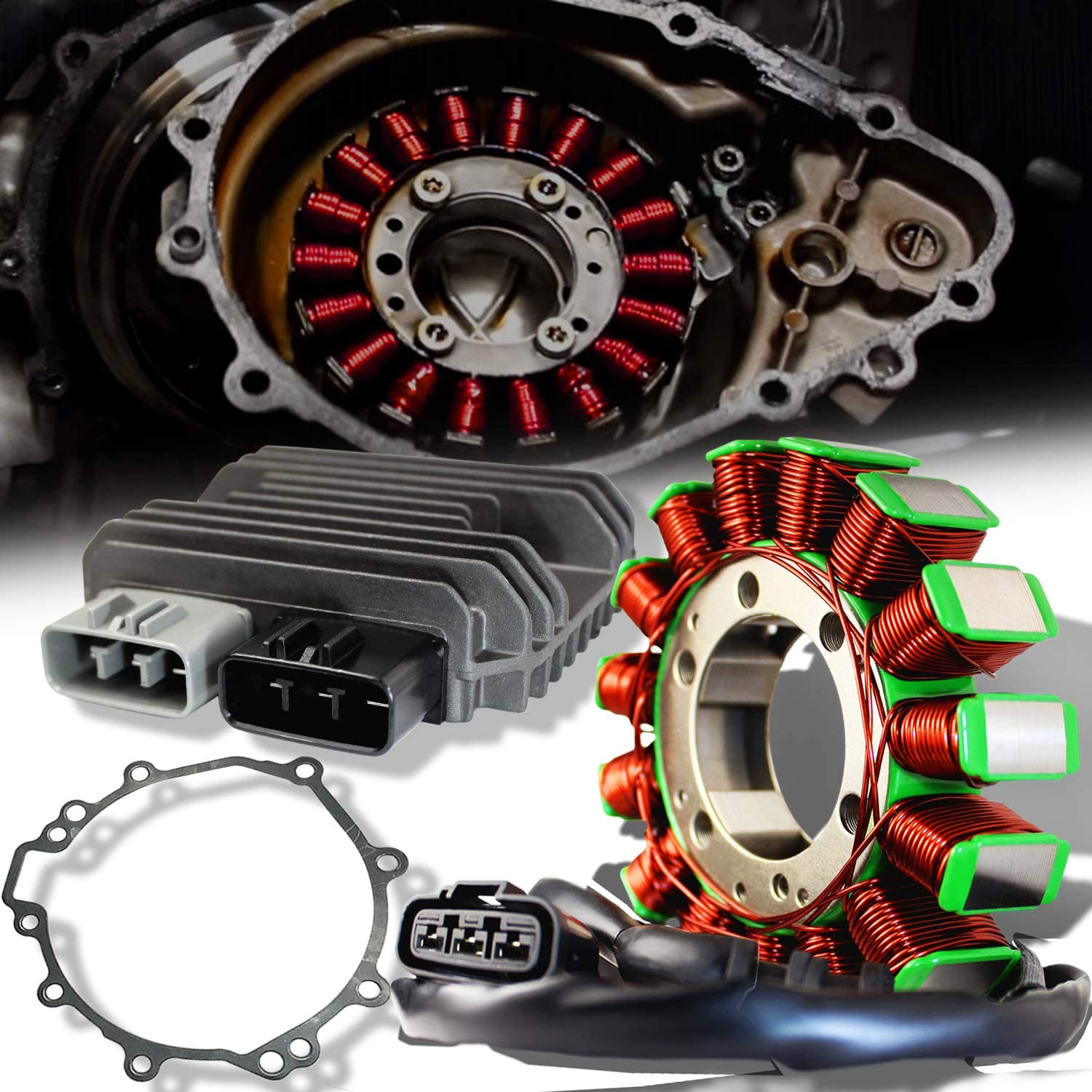 ExtremePowersports OE Magneto Coil Stator+Voltage Rectifier+Gasket 09-12 ZX-6R 636 21003-0083