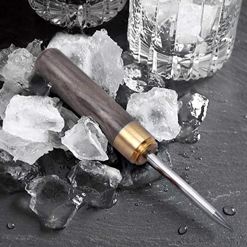Best Carving Tool 2 Pack Black Bartender Ice Picks YILEGOU Stainless Steel with Wooden Handle Ice Chipper ideal for Bars