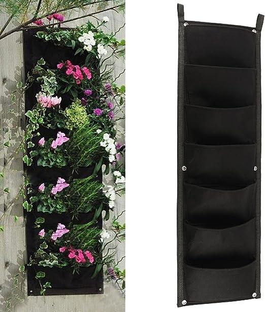 New_Soul 7 bolsillos para plantar macetas verticales de pared, maceta de jardinería, bolsas de cultivo para plantas y macetas para colgar en el jardín, interior y exterior: Amazon.es: Jardín