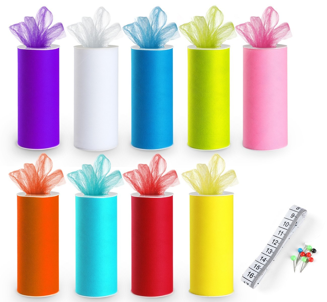 9 Tulle Rolls Rainbow Tulle Colors Roll Fabric Spool 6'' by 25 Yard Spool for Wedding Tutu and Table Skirt Decoration ilauke
