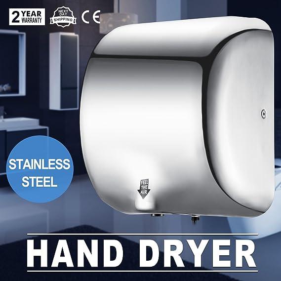 ... Secador de manos Automático Alta Velocidad 90 m / s Dispositivo de Secado de Manos Comerciales Acero Inoxidable para baño Doméstico: Amazon.es: Hogar