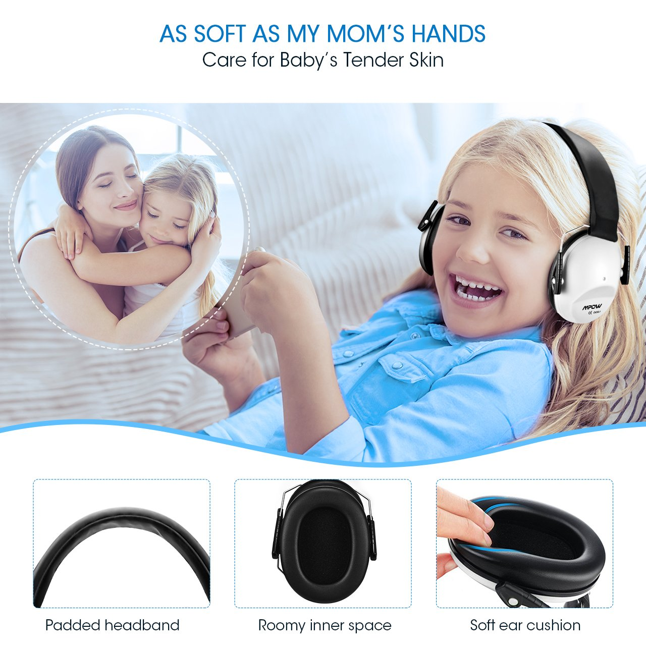 Mpow 068 Kids Ear Protection Safety Ear Muffs, NRR 25dB Noise Reduction Hearing Protection for Kids, Toddler Ear Protection for Shooting Range Hunting Season for Kids Toddlers Children (White) by Mpow (Image #5)