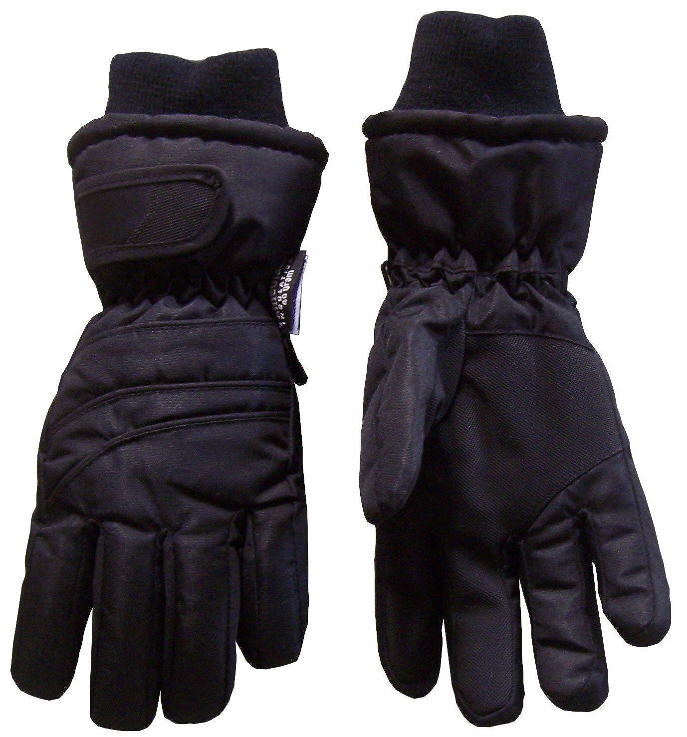 N'Ice Caps Kids Bulky Thinsulate and Waterproof Ski Glove With Ridges (8-10yrs, Black) 5121