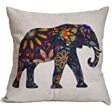"""Ambox Beige Cotton Blend Linen Square Decorative Throw Pillow Covers - Indoors or Outdoors Cushion Cases, 18"""" x 18"""", Beige/White/Black (Cute Elephant)"""