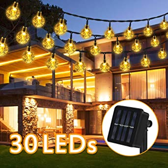 Cadena de luz solar, 6.5M 30 LED 8 modos Solar Bola de Cristal Luz Decorativa, IP65 Impermeable blanco cálido, decoración de cadena de luz exterior para jardín, árboles, Navidad, bodas, fiestas: Amazon.es: