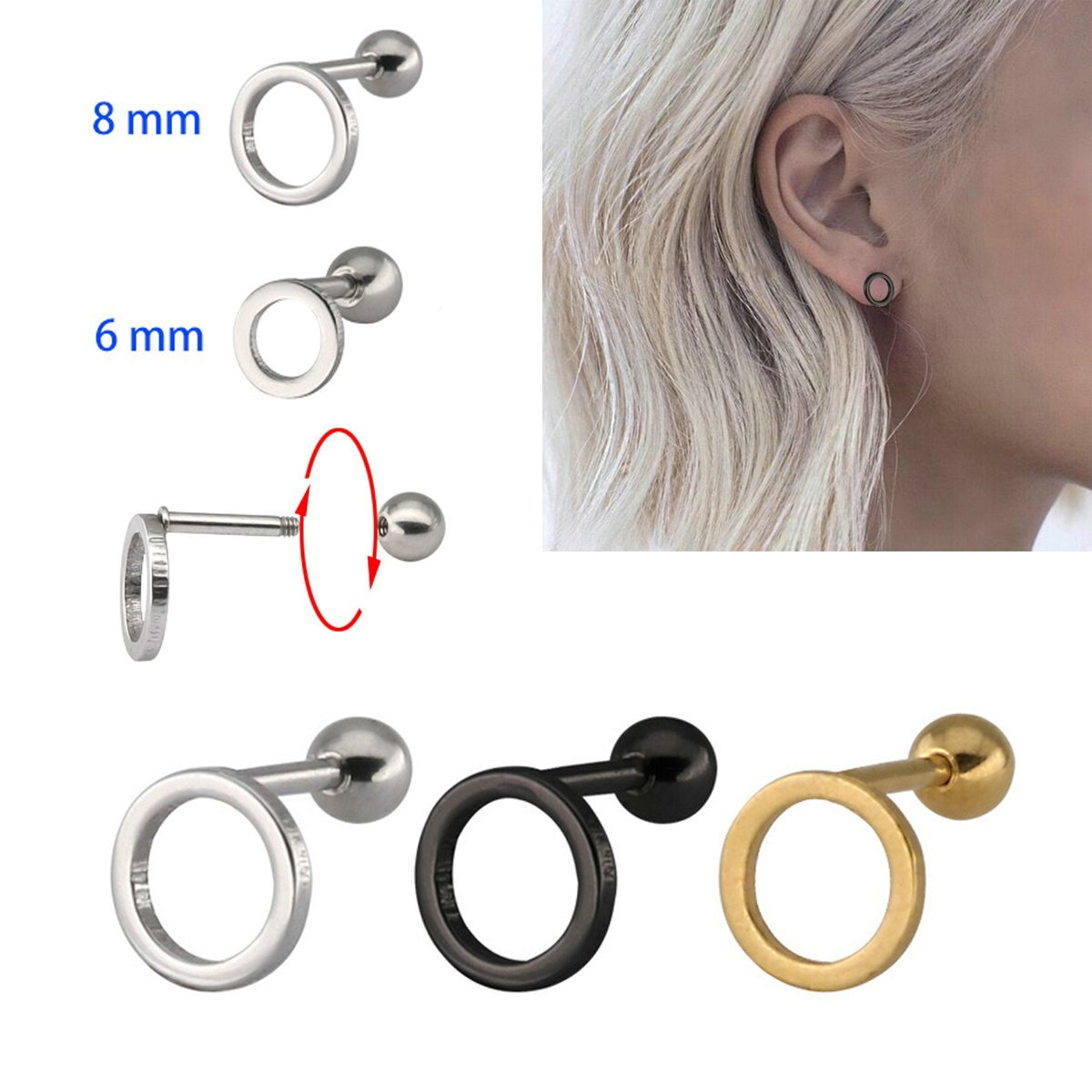 Stainless Steel Stud Earrings Ball Rould Circle Anazoz Womens Earrings Set