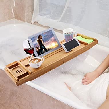 Flyerstoy Bamboo Bathtub Caddy, Adjustable Wooden Serving Tray and Organizer, Expandable Non-Slip Wooden Bath Tray Securely Holds Drinks, Book/Tablet, Bath Accessories, Phone (Brown)
