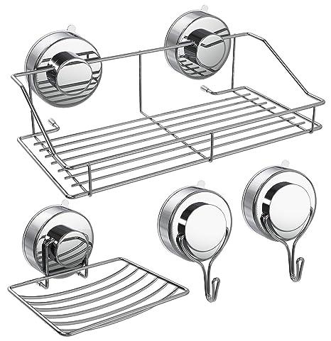 Amazon.com: Ouddy - Juego de 4 ganchos de ducha con ventosa ...