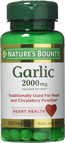 Nature s Bounty Garlic, 2000mg, 120 Coated Tablets Pack of 2